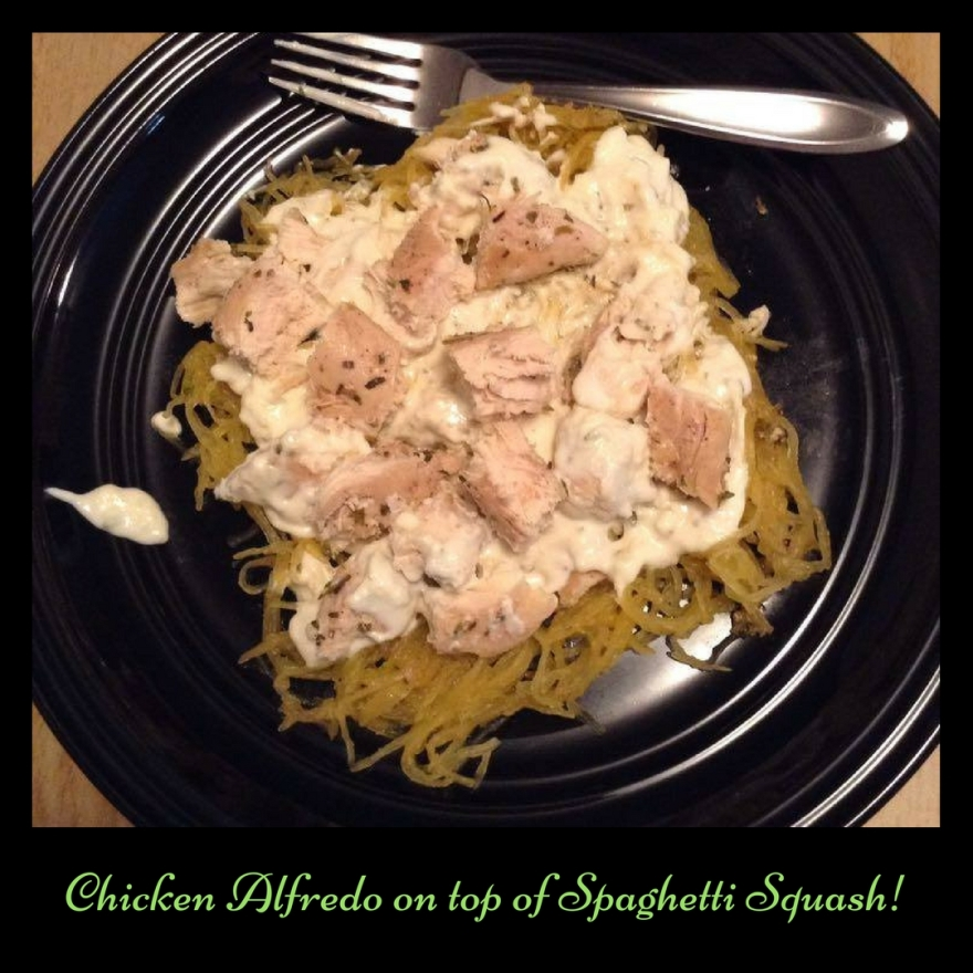 Chicken Alfredo on top of Spaghetti Squash